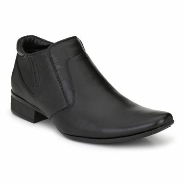 Hitz | Hitz Black Genuine_Leather Office Wear Shoes For Men  With Zip