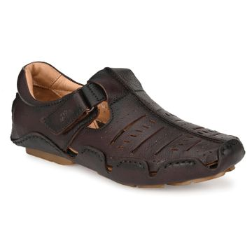 Hitz | Hitz Brown Totone_Leather Sandals For Men with Velcro Fastening
