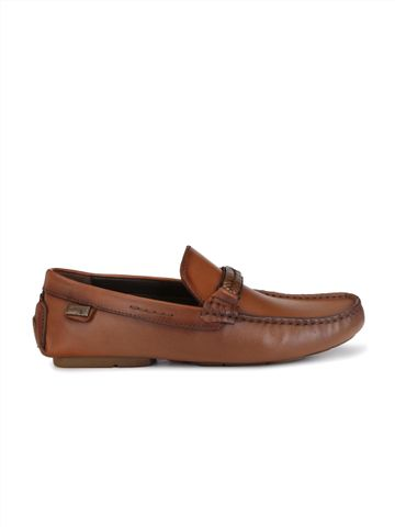Hitz   Hitz Brown Genuine Leather Casual Loafers with Slip-On Fastening