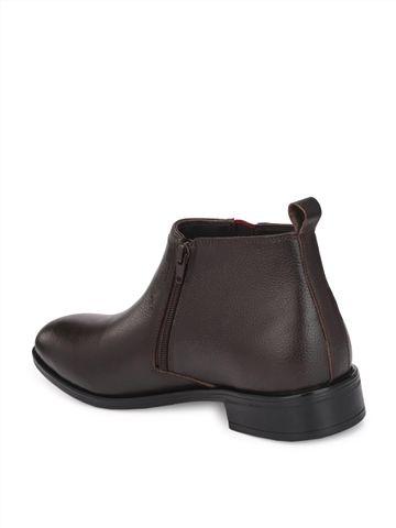 Hitz | Hitz Brown D. Leather Boots For Men with Zip-Closure