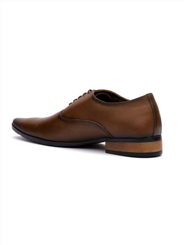 Hitz | Hitz Brown Genuine Leather Formal Lace-Up Shoes For Men