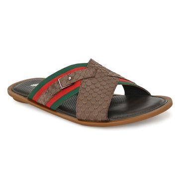 Hitz | Hitz Brown _Leather Criss-Cross Slippers For Men