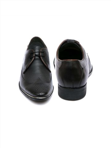 Hitz | Hitz Black_Genuine Leather Party Wear Shoes For Men With Lace-Up