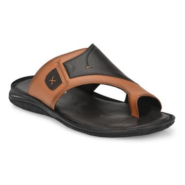 Hitz | Hitz Brown Casual Genuine Leather Slipper with Slip-On Fastening