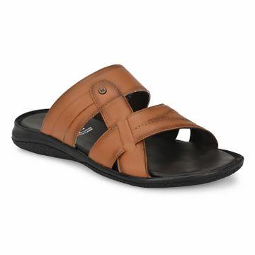 Hitz | Hitz Brown Casual Genuine Leather Slipper with Slip-On Fastening