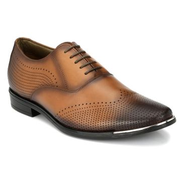 Hitz | Hitz Brown_Genuine Leather Party Wear Shoes For Men With Lace-Up
