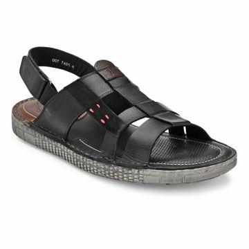 Hitz | Hitz Black Casual Genuine Leather Sandal For Men with Velcro Fastening