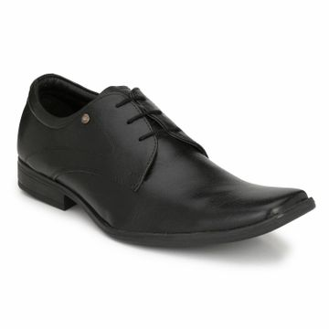Hitz | Hitz Black Genuine Leather Formal Lace-Up Shoes For Men
