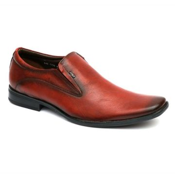 Hitz | Hitz Brown Leather Slip-On Formal Shoes For Men