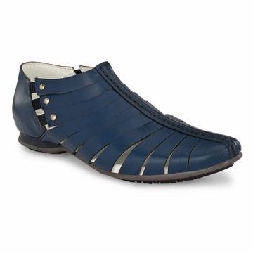 Hitz | Hitz Blue Casual Genuine Leather Sandal with Slip-On Fastening
