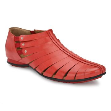 Hitz | Hitz Red Casual Genuine Leather Sandal For Men with Slip-On Fastening