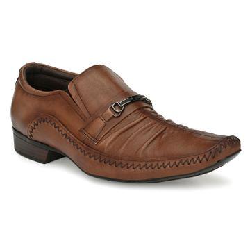 Hitz | Hitz Brown _Leather Slip-On Shoes For Men