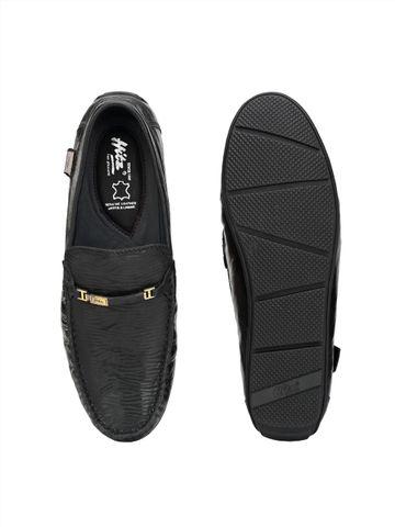 Hitz | Hitz Black Genuine Leather Slip-On Loafers
