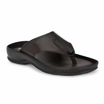 Hitz | Hitz Brown Casual Genuine Leather Sandals with Slip-On Fastening