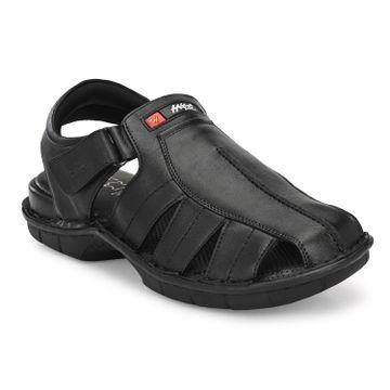 Hitz | Hitz Black Genuine Leather Office Wear Sandal For Men with Velcro Fastening