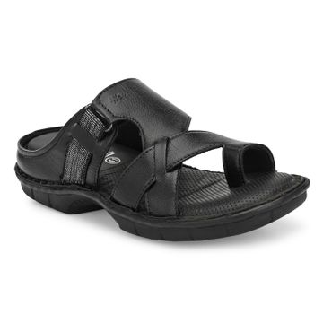 Hitz | Hitz Black Casual Genuine Leather Slipper with Slip-On Fastening