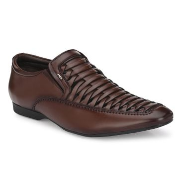 Hitz | Hitz Brown Slip-On Formal Shoes For Men