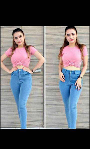 SIMARAA FAB | Simaraa fab Sky blue denim fit High rise jeans