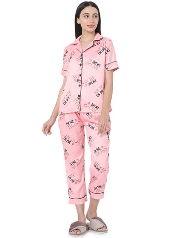 Smarty Pants | Smarty Pants women's silk satin pink color typography print night suit