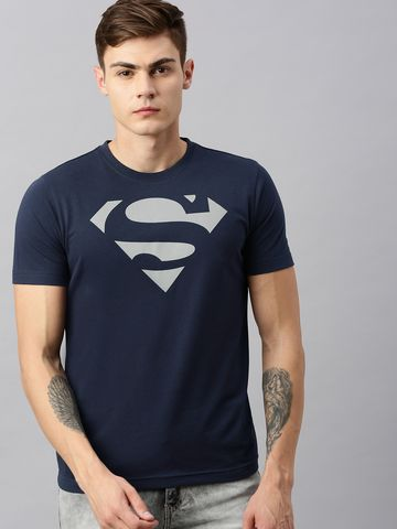 HUETRAP   Superman by Huetrap Men Navy & White Printed Eco Round neck T-Shirt