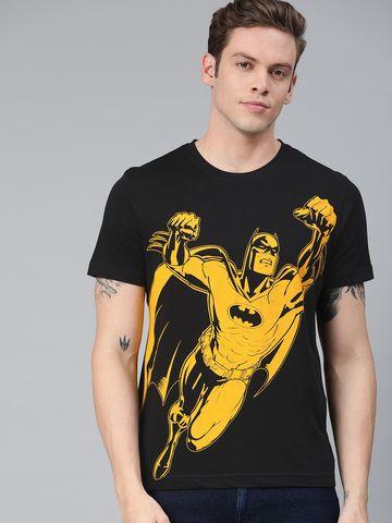 HUETRAP   Batman by Huetrap Men Black & Yellow Printed Rogue Round neck T-Shirt