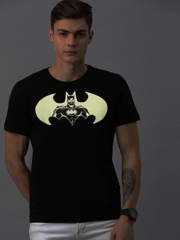 HUETRAP   Batman by Huetrap Men Black & White Printed Rogue Round neck Glow in the dark T-Shirt