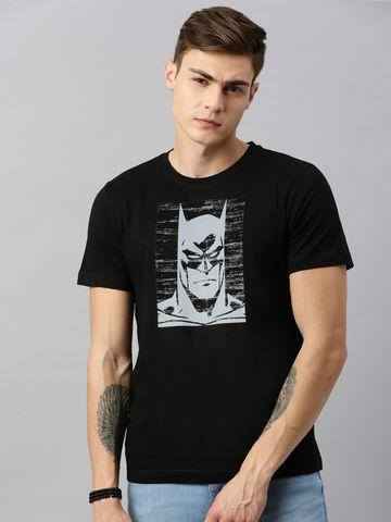 HUETRAP   Batman by Huetrap Men Black & White Printed Rogue Round neck T-Shirt