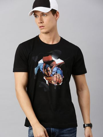 HUETRAP   Superman by Huetrap Men Black & Blue Printed Rogue Round neck T-Shirt