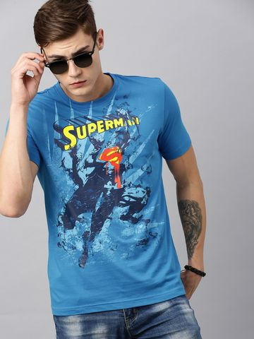 HUETRAP   Superman by Huetrap Men Blue & Yellow Printed Rogue Round neck T-Shirt