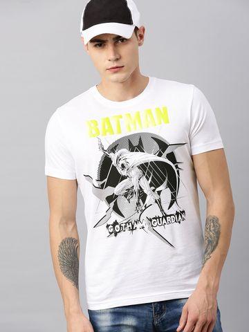 HUETRAP   Batman by Huetrap Men White & Black Printed Rogue Round neck T-Shirt