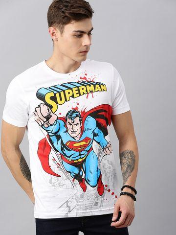 HUETRAP | Superman by Huetrap Men White & Blue Printed Rogue Round neck T-Shirt