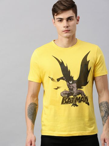 HUETRAP   Batman by Huetrap Men Yellow & Black Printed Rogue Round neck T-Shirt