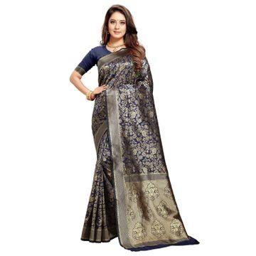 POONAM TEXTILE   Latest Banarasi Silk Navy Blue Saree For Reception