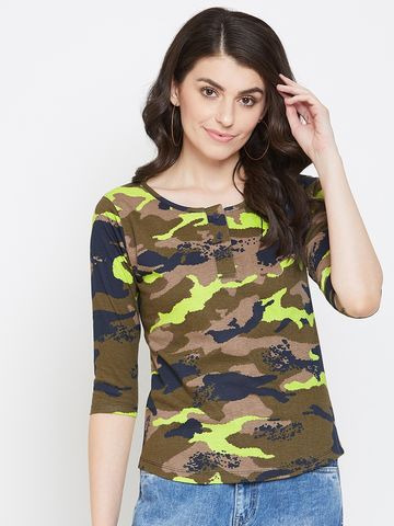 Jhankhi | Green Camouflage Henley T-Shirts