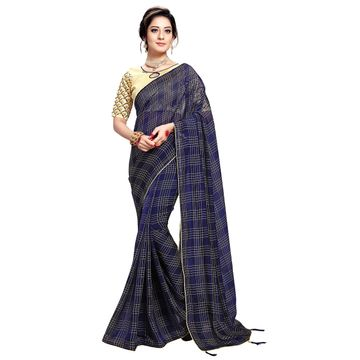 SATIMA | WOMEN'S BLUE SELF DESIGN PRINTED GEORGETTE SAREE