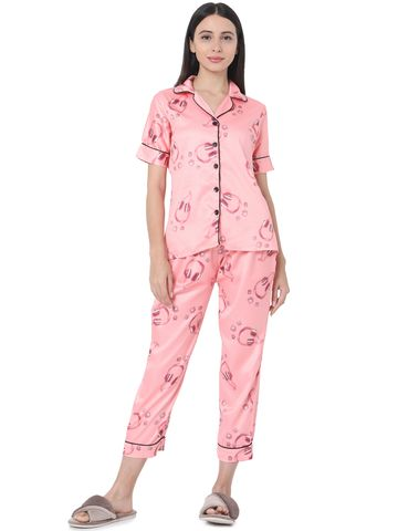 Smarty Pants | Smarty Pants women's silk satin pink color printed night suit