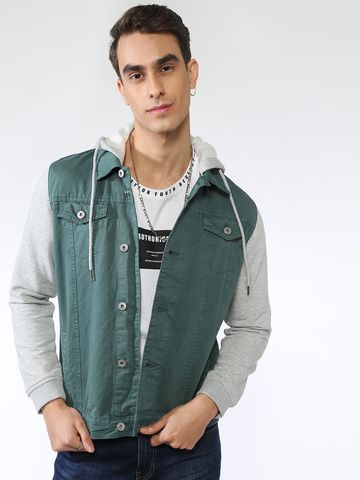 Blue Saint | Blue Saint Men's Green Slim Fit Denim Jackets