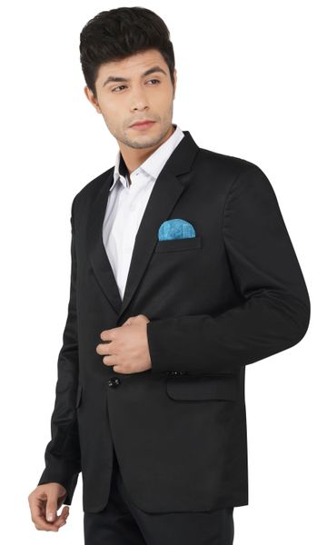 TAHVO | Black notched lapel blazer for men