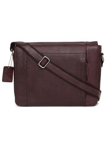 WildHorn | WildHorn Genuine Leather Maroon Messenger Bag for Men