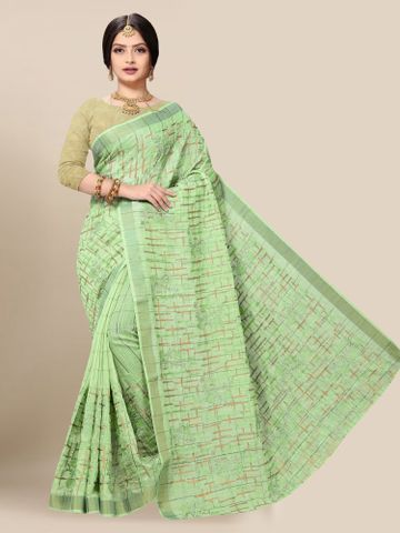 SATIMA | Latest Green Embroidered Solid Cotton Blend Saree