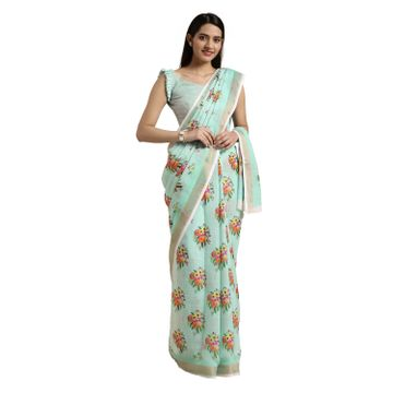 SATIMA | SatimaCotton BlendFloral Digital Print Saree