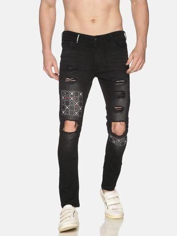 IMPACKT | Impackt Denim Light Washed Skinny Fit 5 Pockets Printed & Distressed Jeans for Men