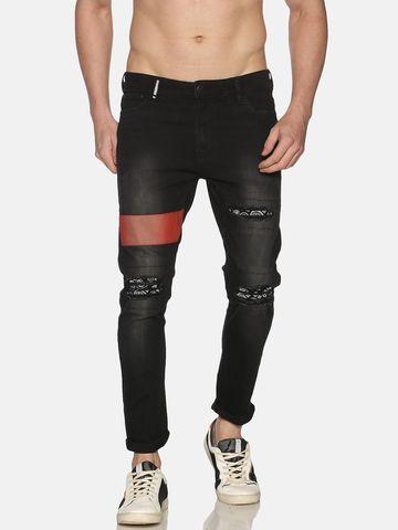 IMPACKT | Impackt Denim Medium Washed Skinny Fit 5 Pockets Printed Patchwork Jeans for Men