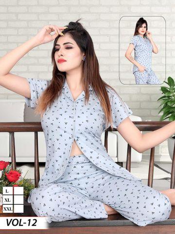 Impex | Impex Women Cotton Navy blue Night suit