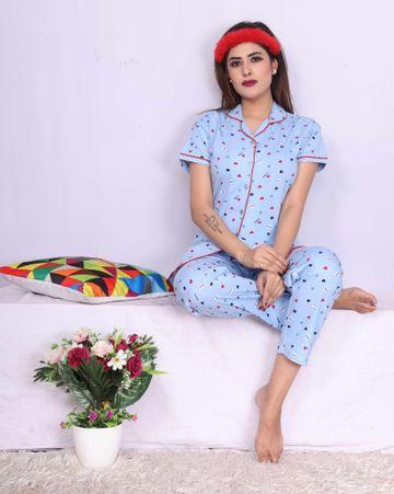 Impex | Impex Women Cotton Sky Blue Night suit