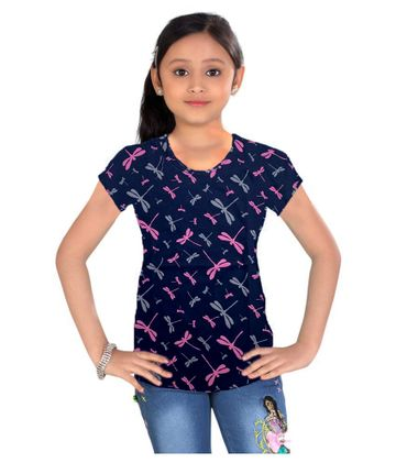 Impex | Impex Printed Navy Blue Tshirt For Girl