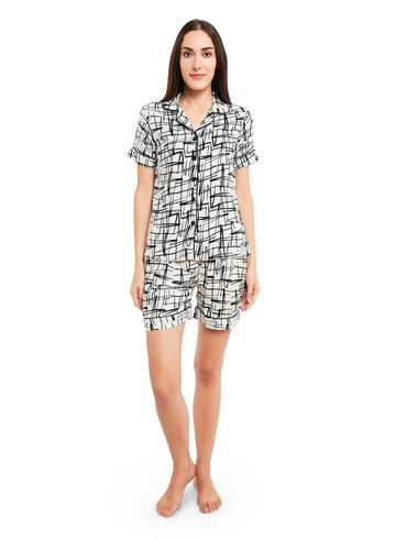 Smarty Pants | Cotton abstract print night suit
