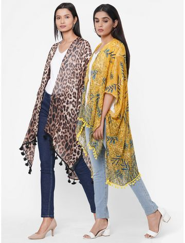 Get Wrapped | Get Wrapped Multicolour Printed Kimonos with fancy Pom Pom for Women -  Combo Pack of 2