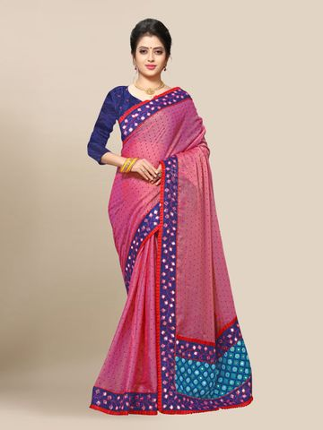 SATIMA | Women's Pink Embroidery Georgette Saree