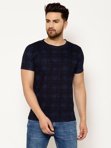 Eppe | EPPE Men's Round Neck Navy Blue Cotton Half Sleeves Casual T-Shirt